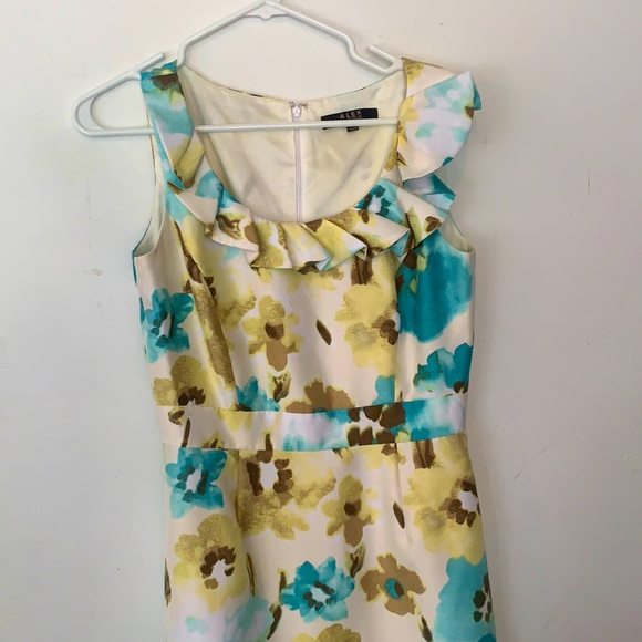 Alex Marie Floral Dress with Ruffle Collar